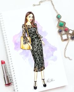 Image may contain: 1 person Dress Design Drawing, Dress Design Sketches, Fashion Design Sketchbook, Fashion Design Drawings, Dress Drawing, Fashion Sketches, Fashion Illustration Tutorial, Illustration Mode, Fashion Drawing Dresses