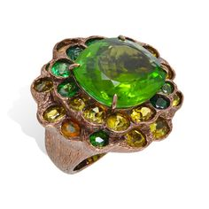 Lydia Courteille ~ Queen of Sheba ring with green tourmaline, tsavorite and fire opal set in brown rhodium gold