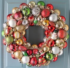 Christmas  Wreath  Red and Green ornaments by judyblank on Etsy, $299.00