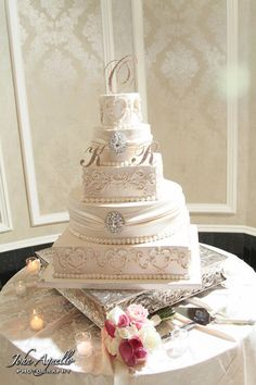 5 tiered buttercream and fondant wedding cake