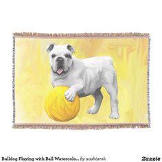 #Bulldog #Playing with #Ball #Watercolor #Art #Painting #Throw #Blanket #dog #animal #pet