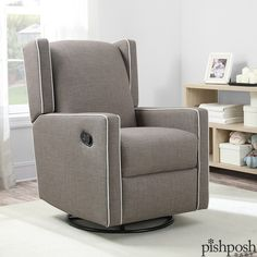 Form + Function! We love the Everston, a mid-century modern glider recliner from Mon Bebe. Available in 2 neutral color options with contrasting detail that highlights the glider's sleek shape. Transitions beautifully to any room in your home when baby outgrows the nursery! Priced at $599.99.  http://www.pishposhbaby.com/mon-bebe-everston-recliners.html
