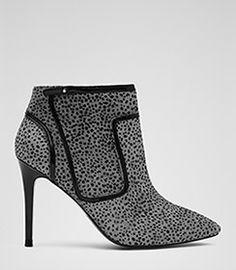 Viktoria Grey Printed Calf Hair Ankle Boots - REISS