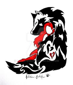 Tribal drawing of a wolf protecting a girl... this one means a lot to me. REMADE! Idea © Tattoo Design © *Peace-Wolf NO, you may NOT get this as a tattoo UNLESS you ASK me for permission AND I SAY ...