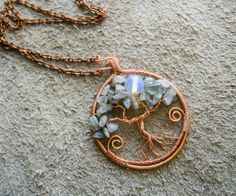 Labradorite and opalite Tree of Life wire by ElvenAdornments, $16.00