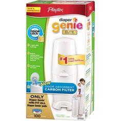 Playtex Diaper Genie Elite Pail with Carbon Filter, White