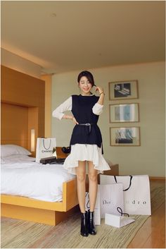 White dress and knit vest set   #KOODING #knit #vest #dress