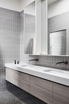 Interior Architecture, Interior Design, Terrazzo, Double Vanity, Layout, Mirror, Powder Rooms, Natural Light, Furniture