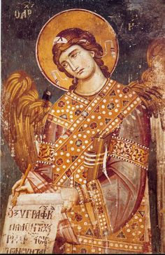 Freska / Fresco, Serbia, one of my favorite Fresco, Archangel Gabriel, Archangel Michael, Byzantine Icons, Byzantine Art, Religious Paintings, Religious Art, Russian Icons, Best Icons