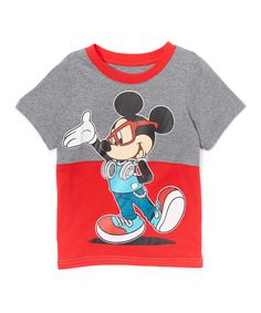 Look at this #zulilyfind! Split Gray & Red Mickey Mouse Sunglasses Tee - Toddler & Boys by Mickey Mouse & Minnie Mouse #zulilyfinds