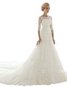 Sarahbridal Women's Mermaid Chapel Train Wedding Dress Bridal Gown US2 Ivory Sarahbridal http://www.amazon.com/dp/B00R49MKB2/ref=cm_sw_r_pi_dp_ByOswb126E8Q3