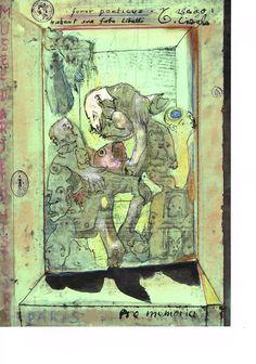 Zeichnung Mischtechnik auf grünem DATEV Papier, 21 x 29,7 cm