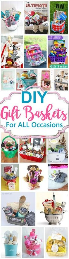 Do it Yourself Gift Baskets Ideas for Mother's Day and Father's Day - Moms, Grandmas, Dads and Grandpas will love! Great for any and All Occasions - Perfect useful DIY Gift Baskets for Christmas - Birthdays - Thank You Gifts - Housewarmings - Baby Showers or anytime