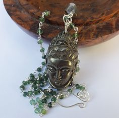 Buddha pendant, pyrite buddha, buddha necklace, green serpentine necklace, green beaded necklace, sterling silver, something special by graciedot on Etsy