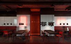 "Sushi and wok restaurant ""KOI"". on Behance Resturant Interior, Japanese Restaurant Interior, Chinese Interior, Restaurant Furniture, Cafe Interior, Interior Design, Interior Concept, Cafe Restaurant, Restaurant Design"