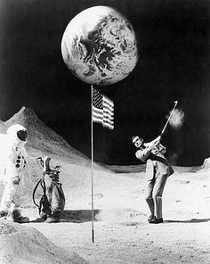 Sean Connery (007) playing golf on the moon