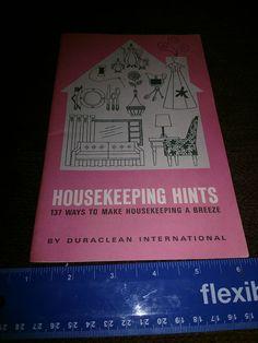 Duraclean International Housekeeping Hints 1968 Duraclean International Housekeeping Hints 1968. Pamphlet   https://nemb.ly/p/Hys0g7UXZ Happily published via Nembol