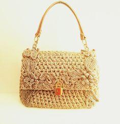 Dolce Gabbana Inspired Crochet Handbag with Genuine Leather Handles, Crochet purse by elvihandmade on Etsy