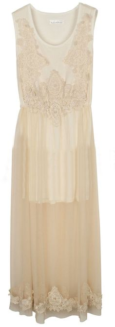 Beige Sleeveless Sheer Mesh Yoke Embroidery Dress 39.36