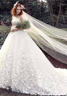 Robe de Mariée 2016-Robe De Mariée Glamour 2016 Robe De Bal Bretelles Appliques…