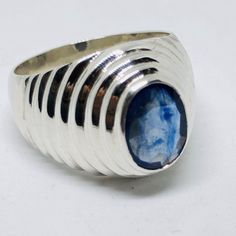 This Sterling Silver Rare Blue Sapphire Ring is a perfect gift for men and women. The ring showcases an elegant design with unique Beautiful Blue Sapphire stone. Get it for your loved one, or treatment yourself for a classic timeless style. Yellow Sapphire Rings, Sapphire Stone, Mens Gold Rings, Rings For Men, Neelam Stone, Mens Ring Sizes, Expensive Jewelry, Rings Cool, Sterling Silver Rings