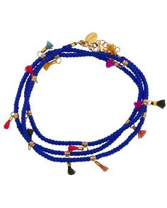 The Lilu Wrap Bracelet in Cobalt Blue with multi colored mini tassels from Shashi fashion jewelry is a personal favorite of ours thanks to its bold color and laid back easy to wear look. This bracelet