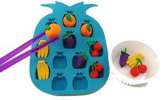 Fruit Transferring Set - Grapes Pineapple Oranges Bananas Montessori Materials Preschool Toys Fine Motor Skills - Transfer Activity http://www.amazon.com/gp/product/B00Q7HBNCE