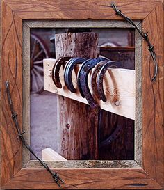 Wood frame * Barbed Wire - cute DIY frame idea for Jayce to make. SF