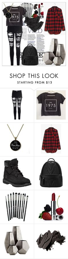 """The 1975"" by fandomfashiondesigner on Polyvore featuring Glamorous, Madewell, Timberland, Revolution, Clinique, Cyan Design, Bobbi Brown Cosmetics, bands, flannel and fanfiction"