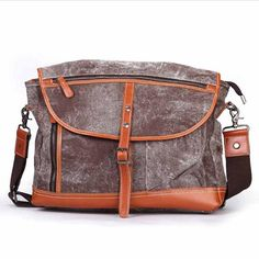 3d922fb50e4a Men Vintage Brush Color Canvas Cover Crossbody Bag Mens Canvas Messenger Bag