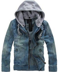 $36.80 - Mens Denim Jacket Men\'s  Long Sleeve Casual Denim  hooded  Jacket Discount Online Shopping