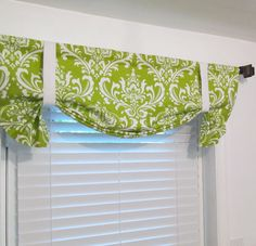 Chartreuse White Damask Tie Up Curtain VALANCE by supplierofdreams