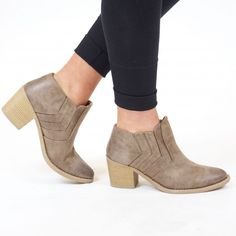 Boots - Taupe with Stacked Heel | Called To Surf