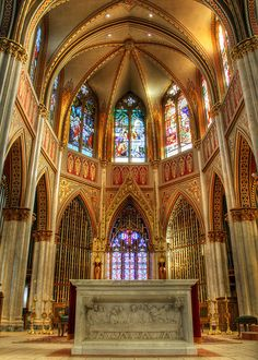 Stained Glass Windows in the Cathedral St. Helena in Montana (Never would have imagined this was in the US!) Gorgeous!
