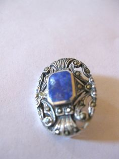 Vintage 1 Sterling Silver .925 Blue Lapis lazuli Pin Brooch - New Old Stock, Never Worn. $15.00, via Etsy.
