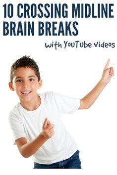 Breaks Ideas: 10 Crossing Midline Activities for Kids Brain Break Ideas: 10 Crossing the Midline Brain Break Resources for home or classroomBrain Break Ideas: 10 Crossing the Midline Brain Break Resources for home or classroom Gross Motor Activities, Movement Activities, Gross Motor Skills, Sensory Activities, Therapy Activities, Activities For Kids, Physical Activities, Music Activities, Crossing Midline