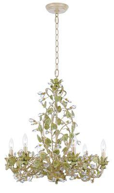 Barrymore Furniture Wrought Iron Hand Painted Chandelier, $1,400 用金屬打造出栩栩如生的籐蔓和綠葉,晶瑩剔透的水晶花苞,燭臺式的燈座,宛如童話叢林中的美妙幻境。