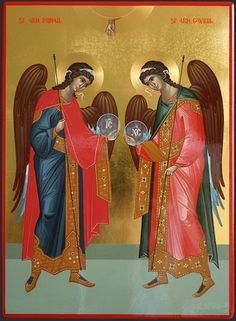 Archangels Michael & Gabriel by Ursutz Gabriel Byzantine Icons, Byzantine Art, Religious Images, Religious Art, Trinidad, Michael Gabriel, Ancient Greek Art, Religious Paintings, Virgin Mary