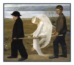 The Wounded Angel by Symbolist Painter Hugo Simberg Counted Cross Stit   Orenco Originals LLC