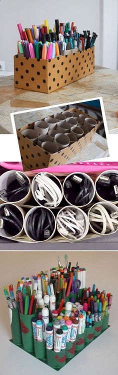 This genius idea just seems too simple. Create a pen caddy with toilet paper rolls and an old shoe box! Or, use them to organize those pesky cords.