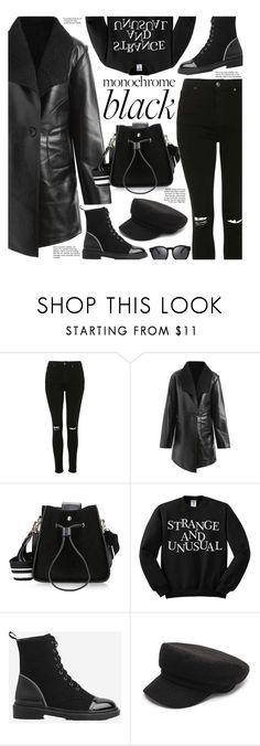 """Monochrome: All Black Everything"" by beebeely-look ❤ liked on Polyvore featuring Topshop, monochrome, allblack, streetwear, blackoutfit and gamiss"