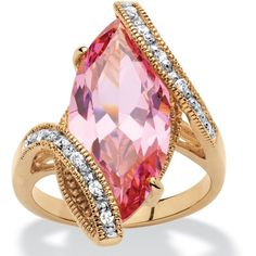 Palm Beach Jewelry Yellow Goldplated 8Ct Marquise-Cut Pink Cubic... (98 BRL) ❤ liked on Polyvore featuring jewelry, rings, yellow, marquise-cut diamond rings, pink cubic zirconia rings, cubic zirconia cocktail rings, cluster rings and pink ring