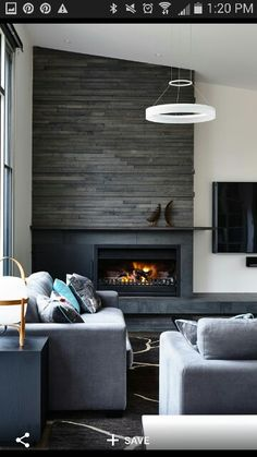 Modern yet rustic fireplace