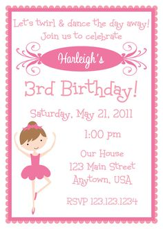 Ballet Birthday Party Invitation any color by PinkInkCreations Ballerina Birthday Parties, Ballerina Party, 3rd Birthday Parties, Birthday Party Invitations, Angelina Ballerina, Birthday Ideas, Third Birthday, Baby Party, Party Time