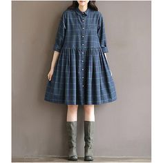 Neuf Femme Automne Manche longue Plaid Imprimée Chemise Robe Dress FR 36-42