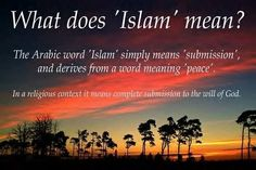 "What does ""Islam"" mean? The Arabic word ""Islam"" simply means ""submission"" and derives from a word meaning ""peace"". In a religious context, it means complete submission to the will of God. Islam Religion, Islam Muslim, Islam Quran, Islamic Qoutes, Muslim Quotes, Hindi Quotes, Islamic Dua, Wisdom Quotes, La Ilaha Illallah"