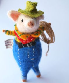 Original and One of a Kind Needle Felted Cowboy Piggy  Designed and handmade from scratch by Miss Bumbles Spud is made from 100% pure British and