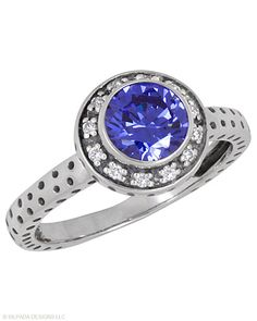 Brilliant blue just for you. Cubic Zirconia, Sterling Silver.