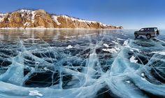frozen baikal lake, russia