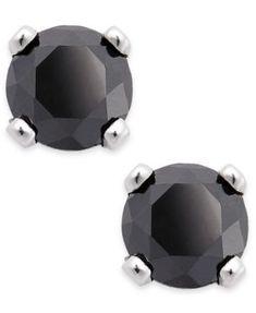 98bfebaf05 Black Diamond Round Stud Earrings in 10k White Gold (1 10 ct. t.w.)